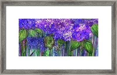 Framed Print featuring the mixed media Hydrangea Bloomies 4 - Purple by Carol Cavalaris
