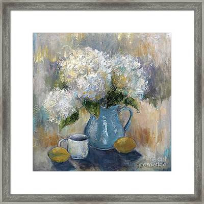 Framed Print featuring the painting Hydrangea Morning by Jennifer Beaudet