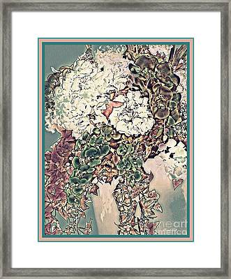 Hydrangea Orchid And Ivy Bouquet 3 Framed Print by Sarah Loft