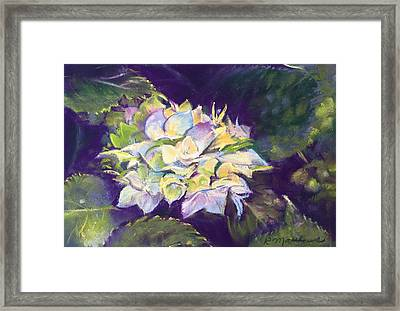 Framed Print featuring the pastel Hydrangea by Rebecca Matthews