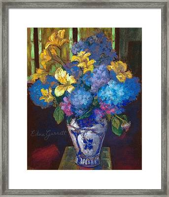 Hydrangeas And Daylilies Framed Print