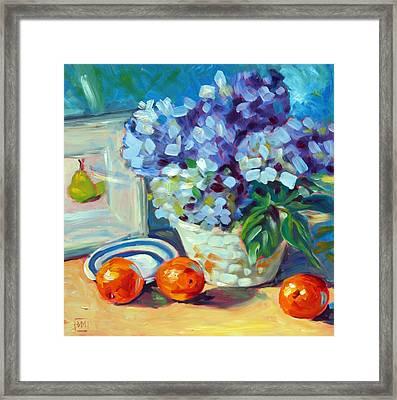 Hydrangeas And Oranges Framed Print by Debbie Miller