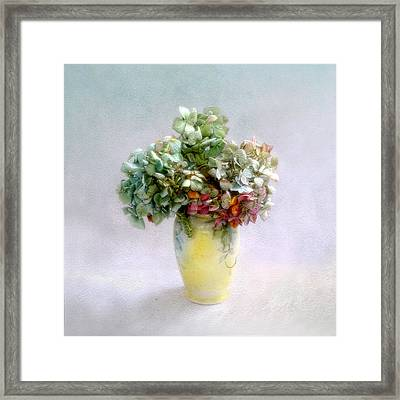 Framed Print featuring the photograph Hydrangeas In Autumn Still Life by Louise Kumpf
