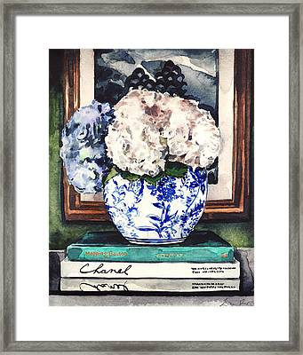 Hydrangeas In Blue And White Chinoiserie Melon Vase With Books Framed Print by Laura Row