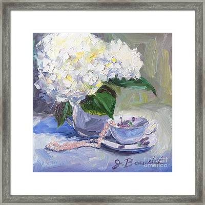 Hydrangeas With Pearls  Framed Print by Jennifer Beaudet