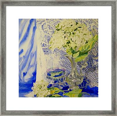 Hydrangia And Lace Framed Print by Terry Honstead