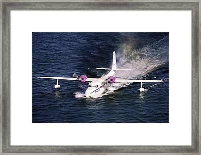 Hydroplane Splashdown Framed Print by Sally Weigand