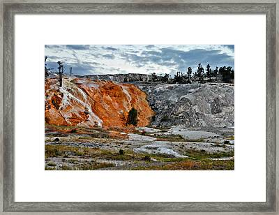 Hymen Terrace At Mammoth Hot Springs - Yellowstone National Park Wy Framed Print