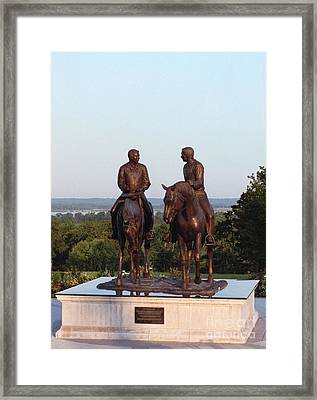 Hyrum And Joseph Smith Equestrian Bronze Monument At Nauvoo Illinois Framed Print by Kim Corpany