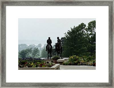 Hyrum And Joseph Smith Statue In The Mist From The Mississippi Framed Print by Kim Corpany