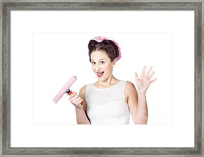 Hysterical Pin-up Woman Washing Windows On White Framed Print