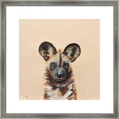 I Am A Wild Thing - African Painted Dog Framed Print by Elena Kolotusha