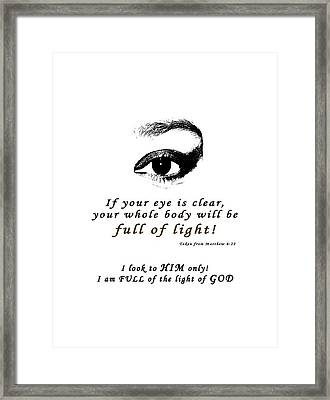 I Am Full Of Light Framed Print by Terry Wallace
