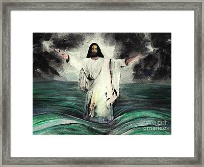 I Am Will Calm Your Sea Framed Print by Hazel Holland