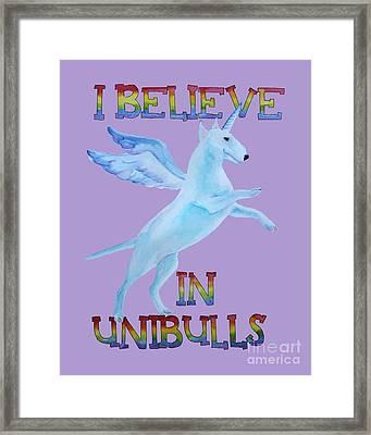 I Believe In Unibulls Framed Print by Jindra Noewi