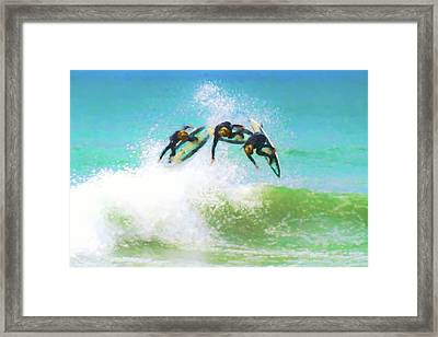 I Bet He Makes It Surfing Watercolor Framed Print