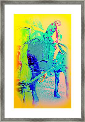 I Can Ride Anything, Said The Little Girl And Jumped Onto The Big Shire Horse   Framed Print by Hilde Widerberg