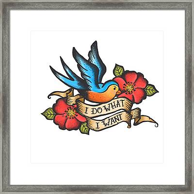 I Do What I Want Vintage Bluebird And Rose Tattoo Framed Print by Little Bunny Sunshine