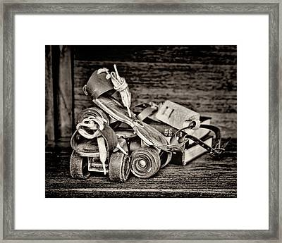 I Got A Brand New Pair Of Roller Skates Bw Framed Print by Heather Applegate