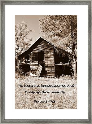 I Have Seen Better Days Psalm 147 3 Sepia Framed Print by Lisa Wooten