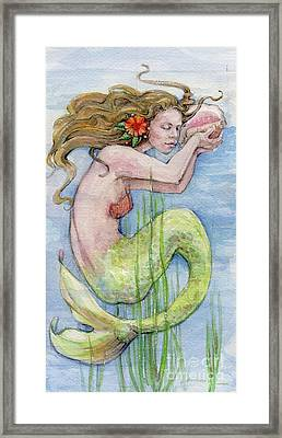 Framed Print featuring the painting Mermaid by Lora Serra