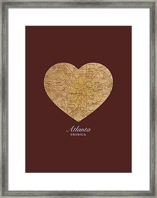 I Heart Atlanta Georgia Vintage City Street Map Americana Series No 013 Framed Print by Design Turnpike