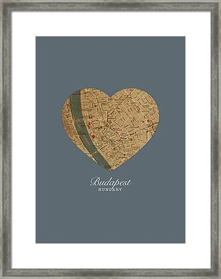 I Heart Budapest Hungary Street Map Love Series No 100 Framed Print