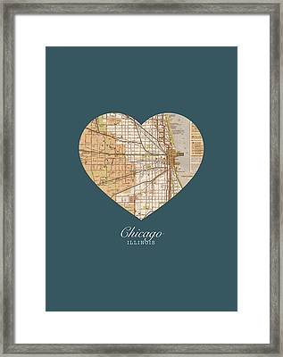 I Heart Chicago Illinois Vintage City Street Map Americana Series No 002 Framed Print by Design Turnpike
