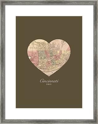 I Heart Cincinnati Ohio Vintage City Street Map Americana Series No 005 Framed Print by Design Turnpike