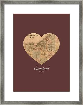 I Heart Cleveland Ohio Vintage City Street Map Americana Series No 004 Framed Print by Design Turnpike