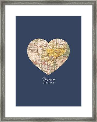 I Heart Detroit Michigan Vintage City Street Map Americana Series No 001 Framed Print by Design Turnpike