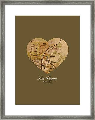 I Heart Las Vegas Nevada Vintage City Street Map Americana Series No 023 Framed Print by Design Turnpike
