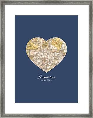 I Heart Lexington Kentucky Vintage City Street Map Americana Series No 006 Framed Print by Design Turnpike