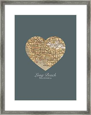 I Heart Long Beach California Vintage City Street Map Americana Series No 019 Framed Print by Design Turnpike