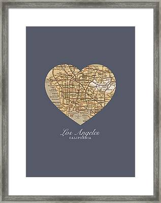I Heart Los Angeles California Vintage City Street Map Americana Series No 018 Framed Print by Design Turnpike