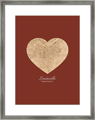 I Heart Louisville Kentucky Vintage City Street Map Americana Series No 007 Framed Print by Design Turnpike
