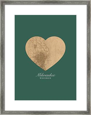 I Heart Milwaukee Wisconsin Vintage City Street Map Americana Series No 003 Framed Print by Design Turnpike