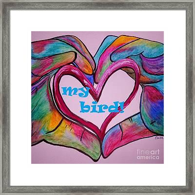 I Heart My Bird Framed Print by Eloise Schneider