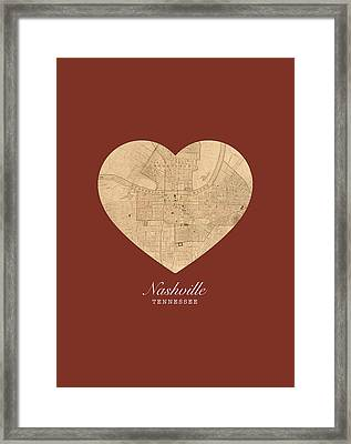 I Heart Nashville Tennessee Vintage City Street Map Americana Series No 010 Framed Print