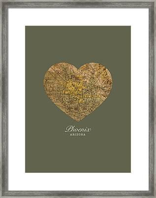 I Heart Phoenix Arizona Vintage City Street Map Americana Series No 026 Framed Print by Design Turnpike