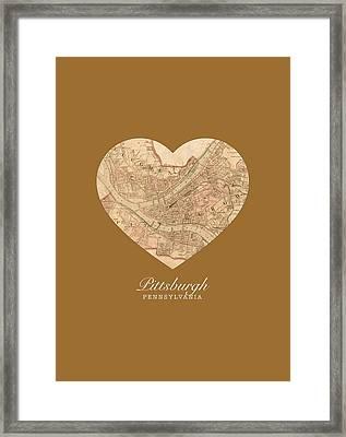 I Heart Pittsburgh Pennsylvania Vintage City Street Map Americana Series No 009 Framed Print by Design Turnpike