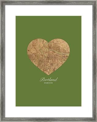 I Heart Portland Oregon Vintage City Street Map Americana Series No 016 Framed Print by Design Turnpike