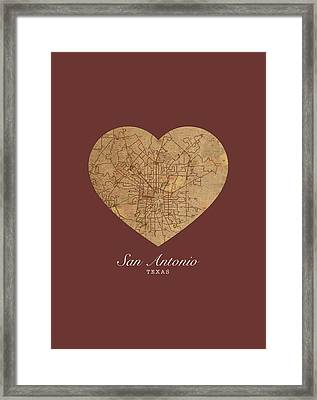 I Heart San Antonio Texas Vintage City Street Map Love Americana Series No 029 Framed Print by Design Turnpike