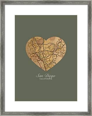 I Heart San Diego California Vintage City Street Map Americana Series No 022 Framed Print by Design Turnpike