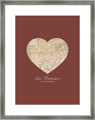 I Heart San Francisco California Vintage City Street Map Americana Series No 017 Framed Print by Design Turnpike