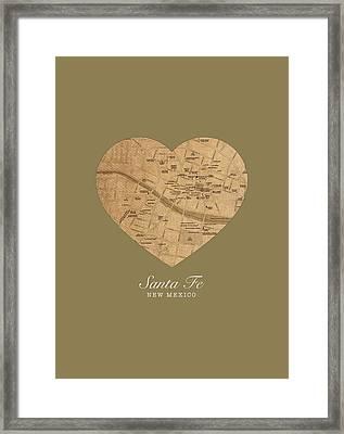 I Heart Santa Fe New Mexico Vintage City Street Map Americana Series No 027 Framed Print by Design Turnpike