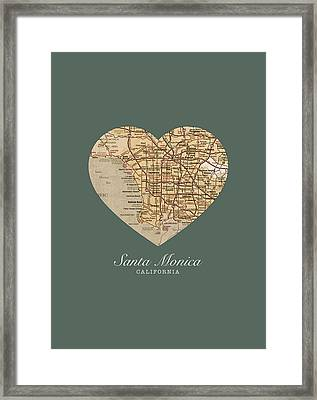 I Heart Santa Monica California Vintage City Street Map Americana Series No 020 Framed Print