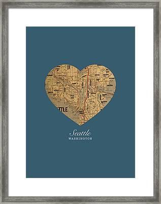 I Heart Seattle Washington Vintage City Street Map Americana Series No 015 Framed Print by Design Turnpike