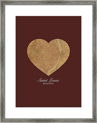 I Heart St Louis Vintage City Street Map Americana Series No 014 Framed Print by Design Turnpike