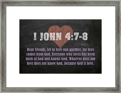 I John 4 7-8 Inspirational Quote Bible Verses On Chalkboard Art Framed Print